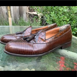 STACY ADAMS Brown Snake Skin Loafers Sz 10.5 M